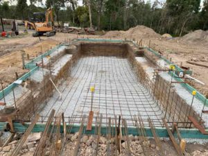 Concrete pool building steps - steel fixing